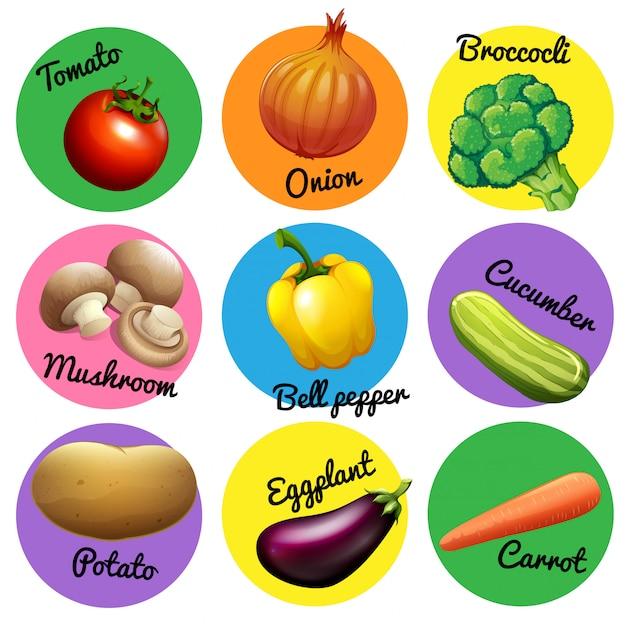新鮮な野菜の丸いタグ 無料ベクター