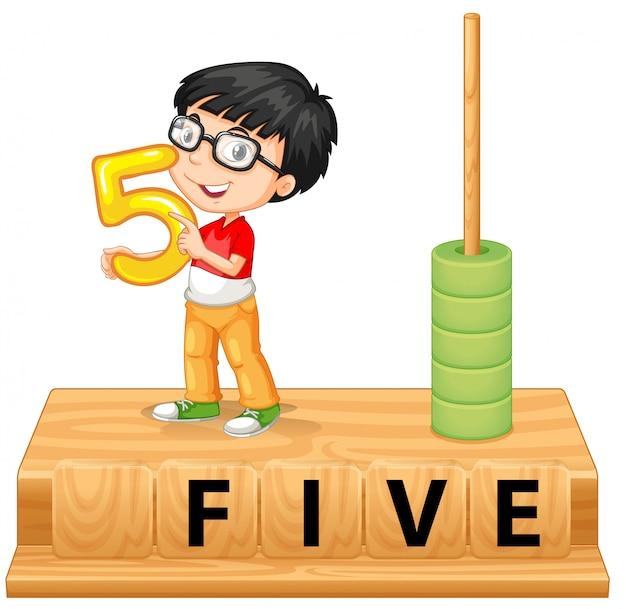 Мальчик держит номер пять Бесплатные векторы