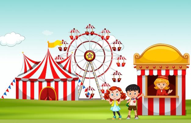 楽しい公園でチケットを買う子供たち 無料ベクター