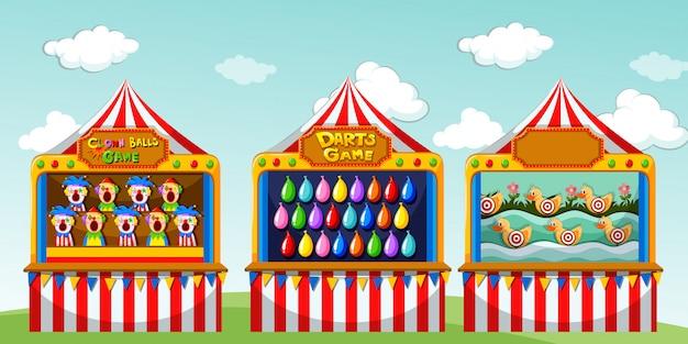 Три игровых киоска в цирке Бесплатные векторы