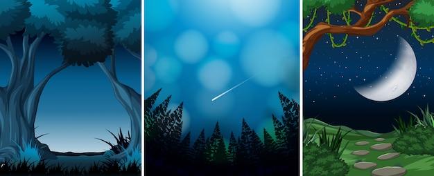 森のシーンの背景のセット 無料ベクター