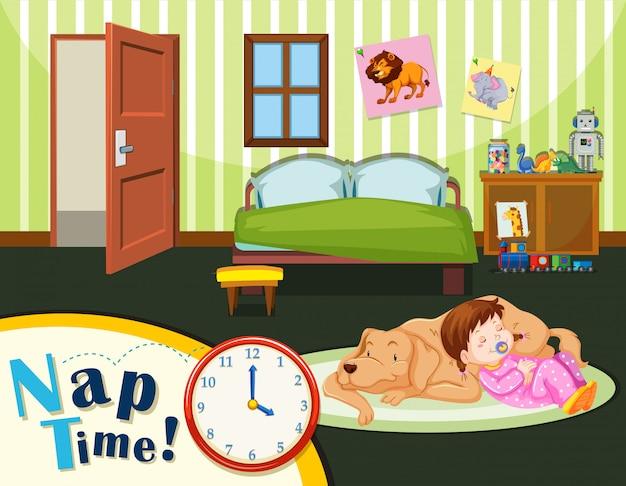 Время сна молодого малыша Бесплатные векторы