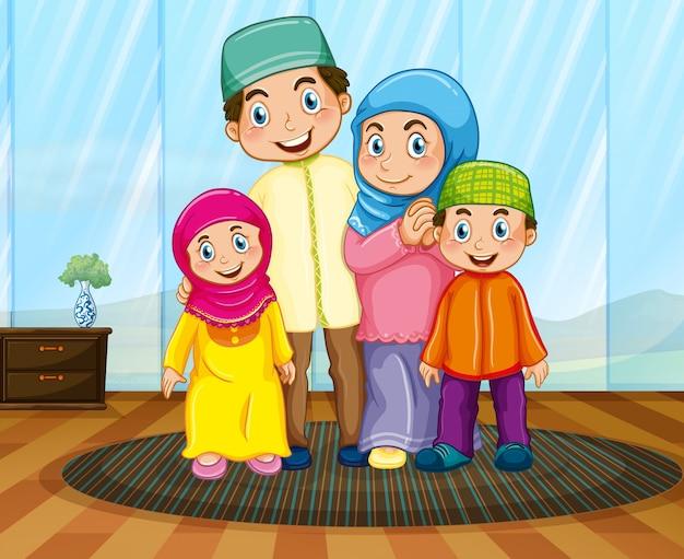 リビングルームでイスラム教徒の家族 無料ベクター