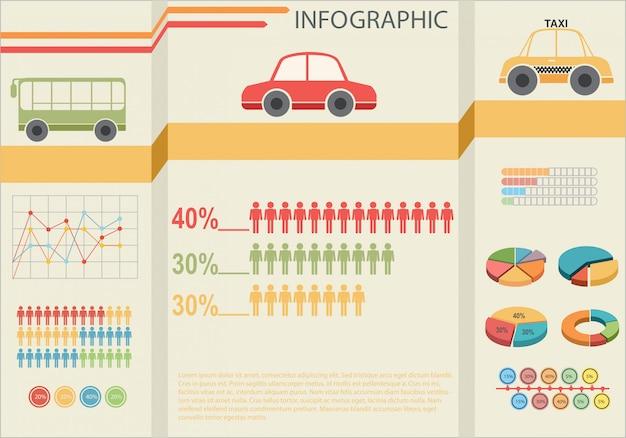 交通機関のインフォグラフィック 無料ベクター