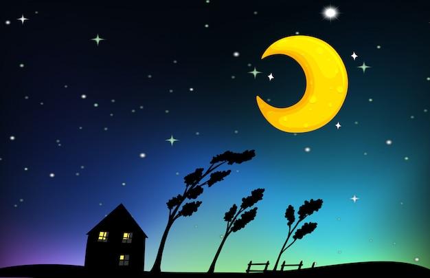 家と木々の夜景 無料ベクター