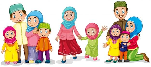 幸せそうに見えているイスラム教徒の家族 無料ベクター