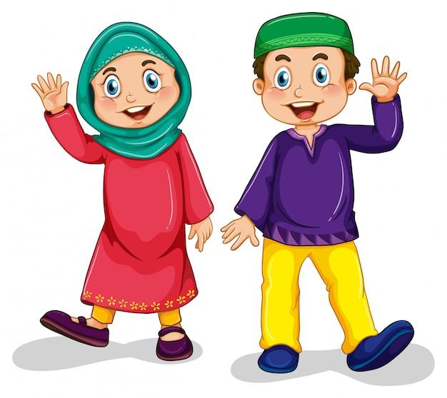 イスラム教徒の少年と少女 無料ベクター