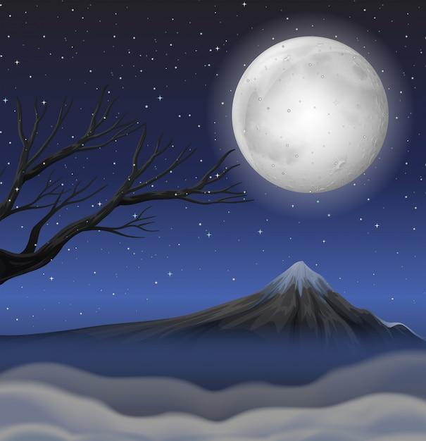 満月の夜に山があるシーン 無料ベクター
