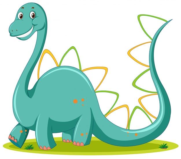 かわいい恐竜白背景 無料ベクター