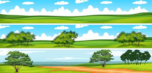フィールドの木があるシーン 無料ベクター