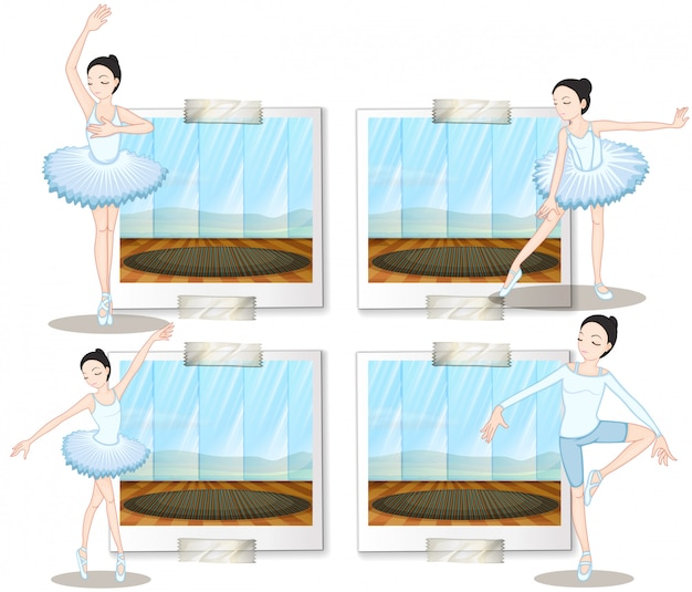 バレエダンサーのダンスとストレッチ 無料ベクター