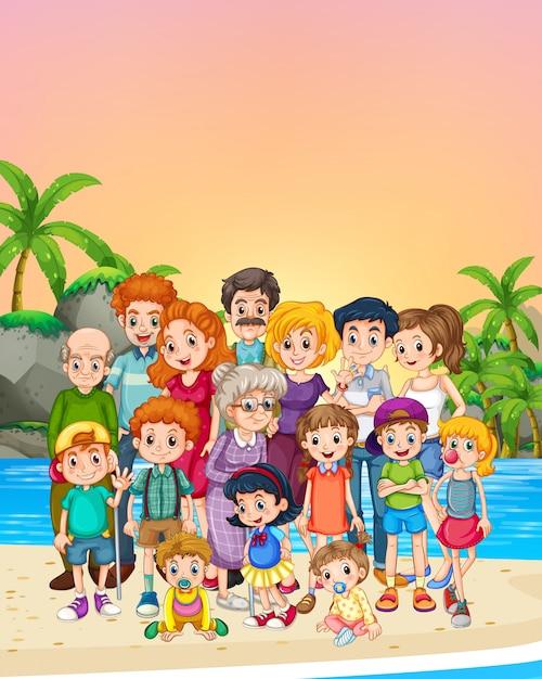 家族のメンバーがビーチの上に立って 無料ベクター