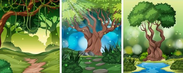 さまざまな木のシーンのセット 無料ベクター