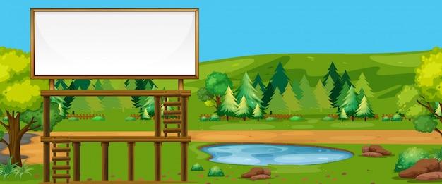 自然の中で大きな看板 無料ベクター