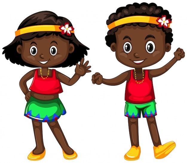 パプアニューギニア少年と白の少女 無料ベクター