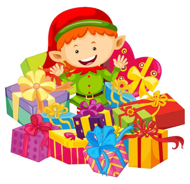 エルフとプレゼントボックスクリスマスのテーマ 無料ベクター