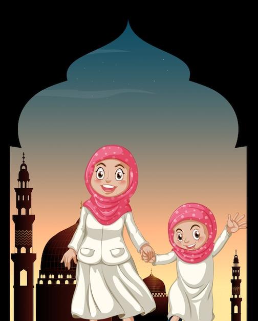 手を繋いでいるイスラム教徒の少女 無料ベクター