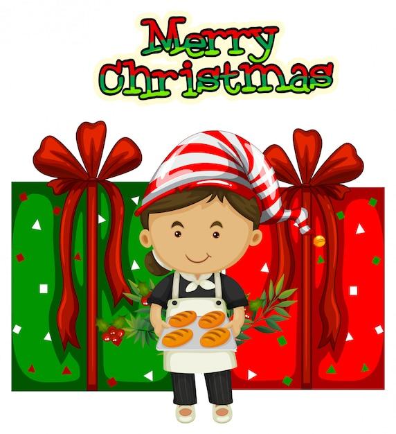 シェフとプレゼントのクリスマスのテーマ 無料ベクター