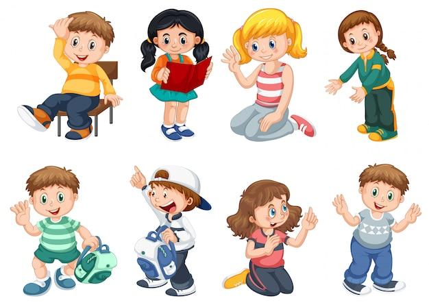 かわいい子供たちのキャラクターのセット 無料ベクター