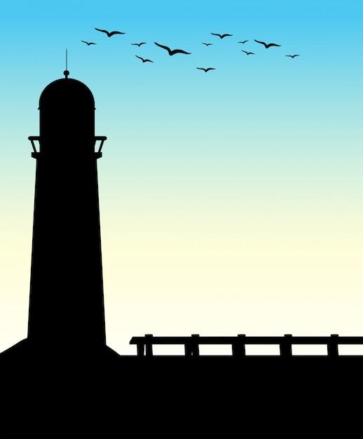 シルエット灯台 無料ベクター