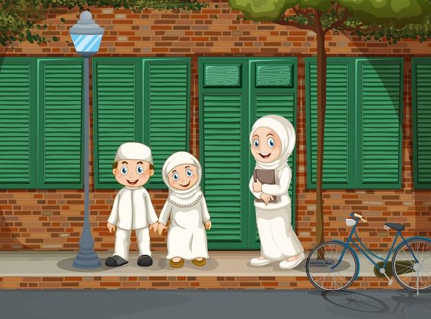 道の上に立っているイスラム教徒の人々 無料ベクター