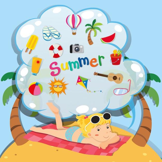 Летняя тема с девушкой на пляже Бесплатные векторы