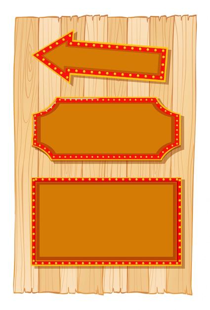 木製の壁に別の看板バナー 無料ベクター