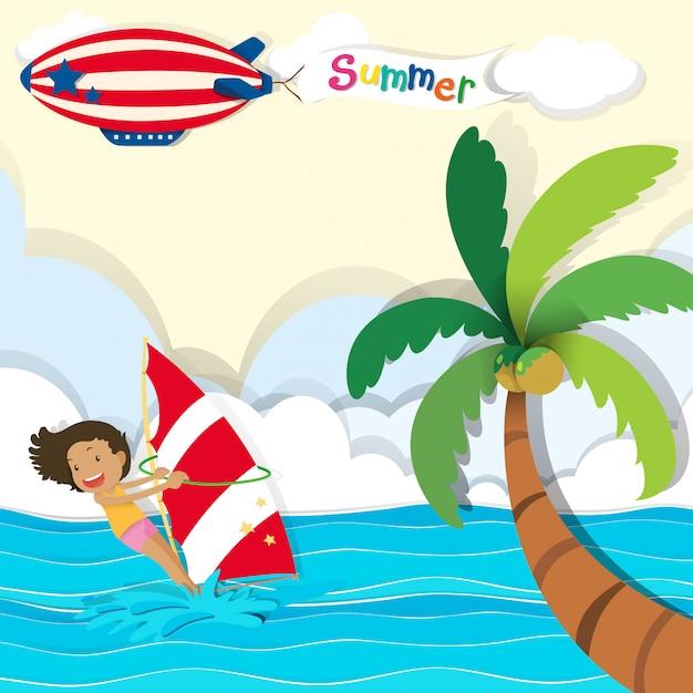 海でサーフィンをする女性 無料ベクター