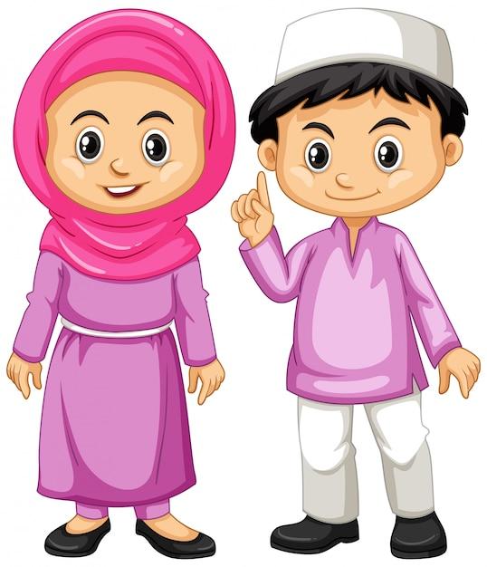 紫色の衣装でイスラム教徒の子供たち 無料ベクター