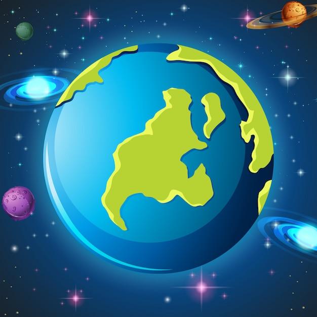 宇宙の中の地球 無料ベクター