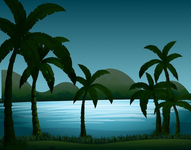 ココナッツの木の背景を持つシルエット自然シーン 無料ベクター