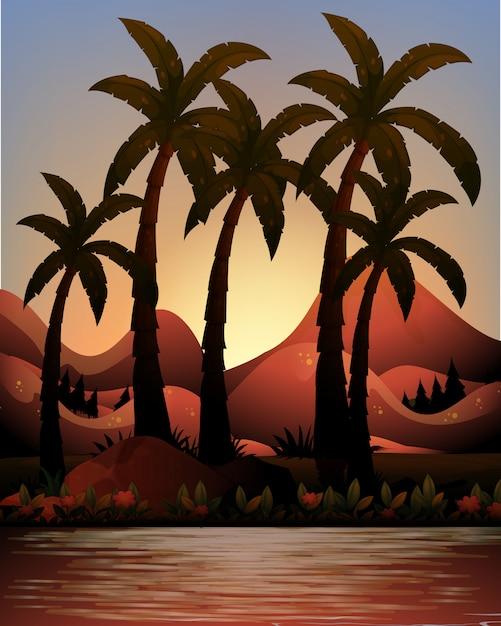 シルエットの海とヤシの木の背景 無料ベクター