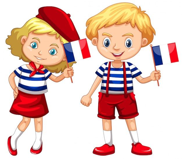 男の子と女の子、フランスの旗 無料ベクター