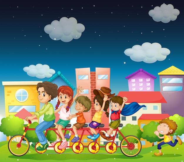 家族乗馬バイク 無料ベクター