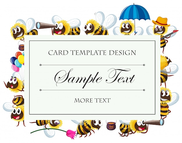 蜂のキャラクターを持つカードテンプレート 無料ベクター