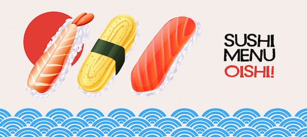 和風背景に巻き寿司 Premiumベクター
