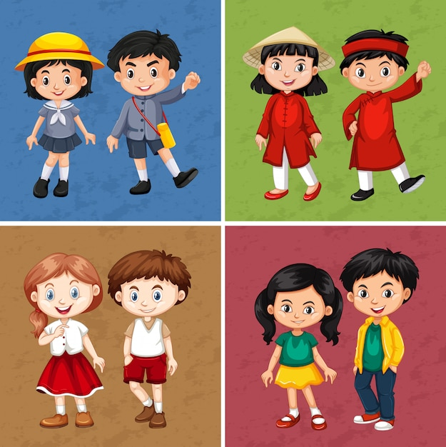 さまざまな国からの幸せな子供たち 無料ベクター