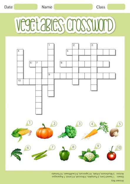 野菜クロスワードシートのテンプレート 無料ベクター