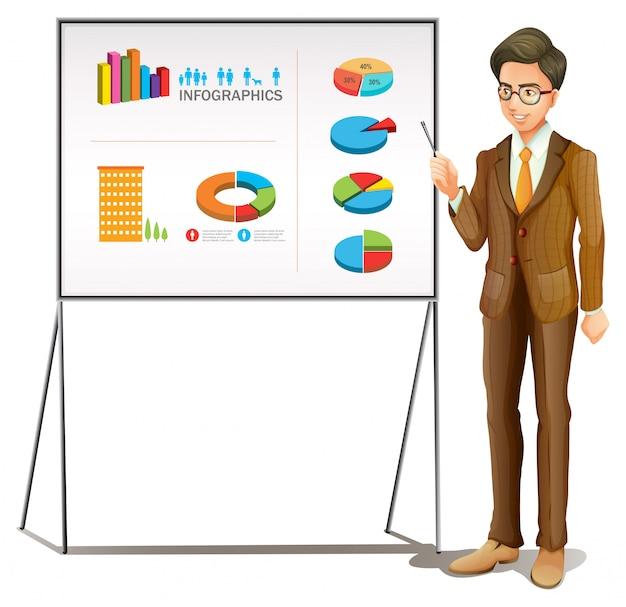 ボード上のグラフを提示する実業家 無料ベクター
