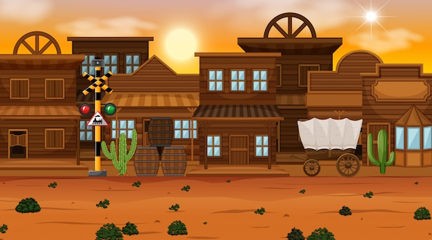 砂漠の町 無料ベクター