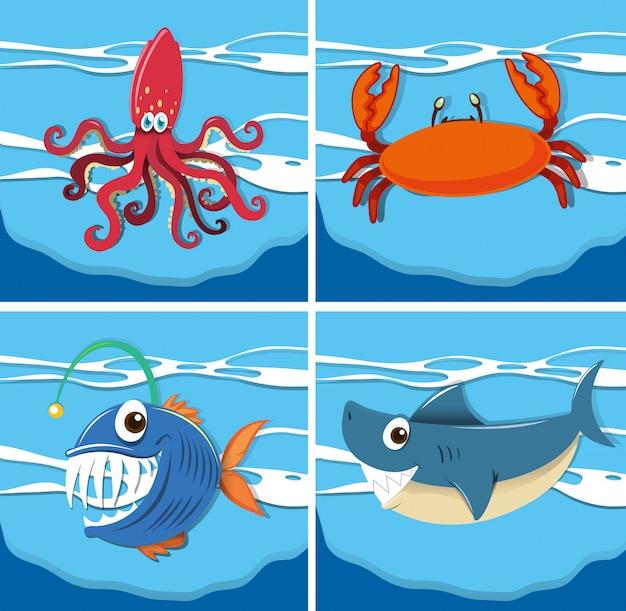 水中の海の動物と海のシーン Premiumベクター