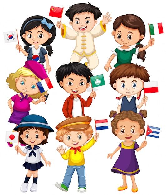 さまざまな国からの旗を保持している多くの子供たち 無料ベクター