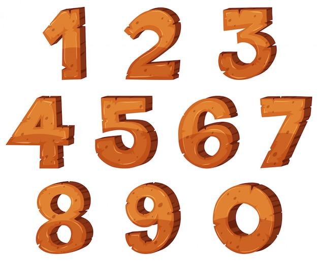 Дизайн шрифта для цифр от одного до нуля Бесплатные векторы