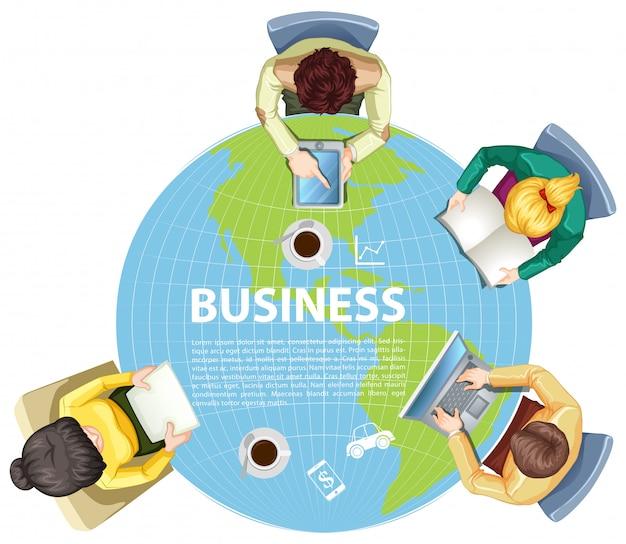 世界中で働くビジネスマン 無料ベクター