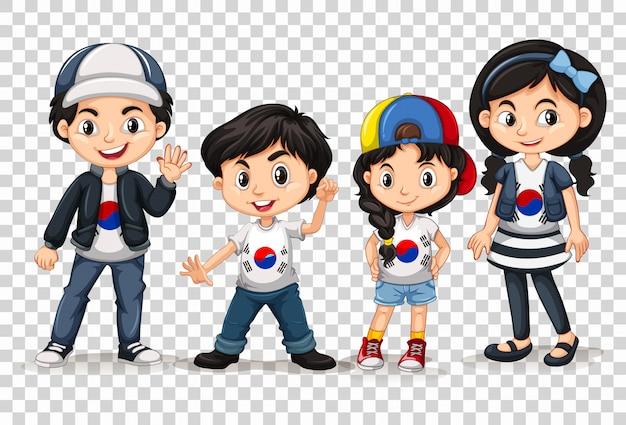 韓国の男の子と女の子 無料ベクター