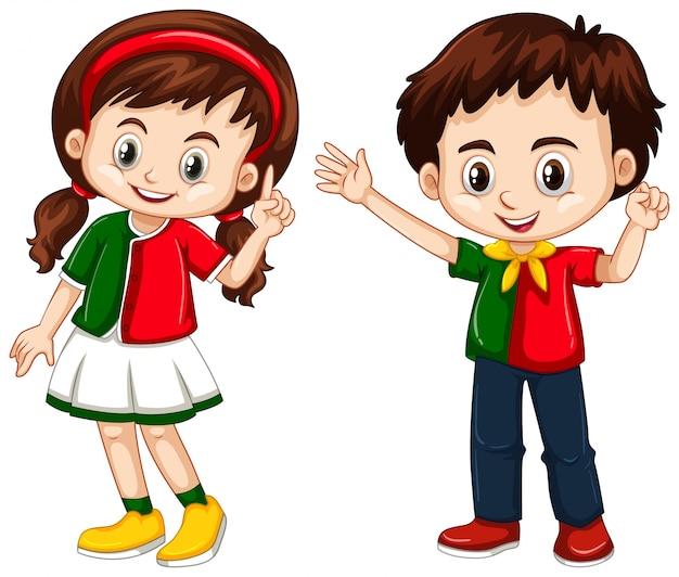 男の子と女の子ポルトガルから 無料ベクター