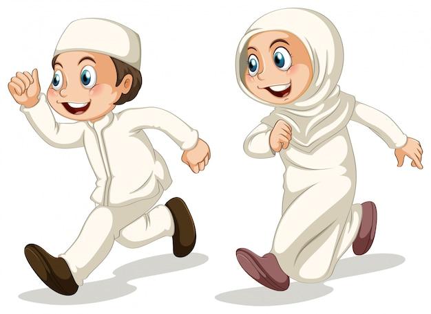 イスラム教徒の子供たち 無料ベクター