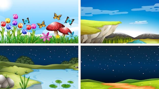 Набор природы пейзажного фона Бесплатные векторы