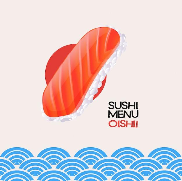日本のカードにサーモン寿司 無料ベクター