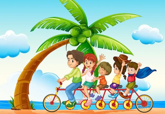 Езда на велосипеде рядом с пляжем Бесплатные векторы